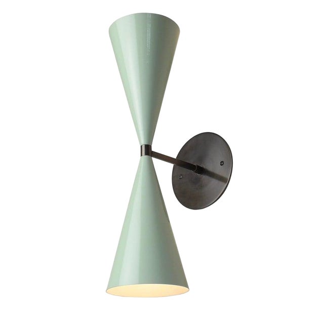 Tuxedo Wall Sconce in Oil-Rubbed Bronze & Mint Green Enamel, Blueprint Lighting For Sale