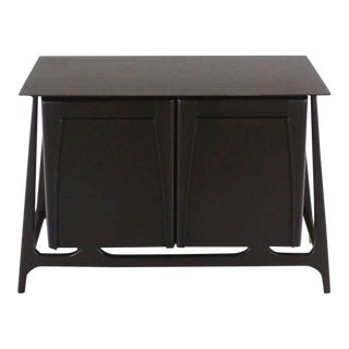 Two-Door Sculptural Exposed Leg Ebonized Server Bachelor Chest For Sale