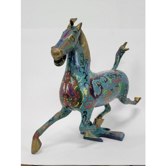 Old Chinese Cloisonne Enamel Gilt Success Horse Horses Swallow Animal Statue, As you can see the image, It is in good...