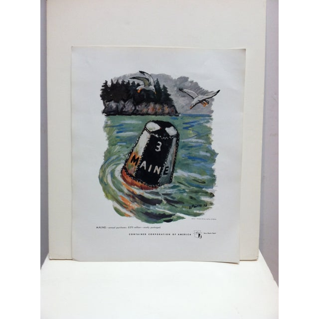 """1960s 1960s Vintage """"Maine"""" Container Corporation of America Color Advertising Print For Sale - Image 5 of 5"""