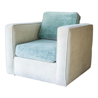 Vintage Two Tone Velvet Cube Club Chair For Sale