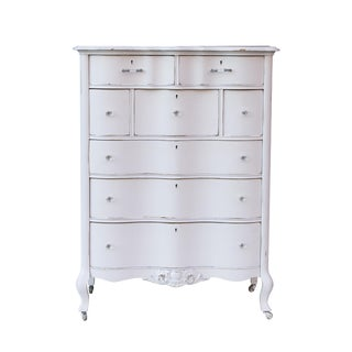 White Shabby Chic Highboy Dresser by j.b. Van Sciver of Camden, Nj For Sale