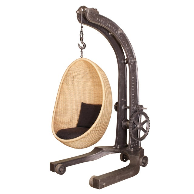 Engine Hoist With Nanna Ditzel Hanging Egg Chair For Sale - Image 12 of 12