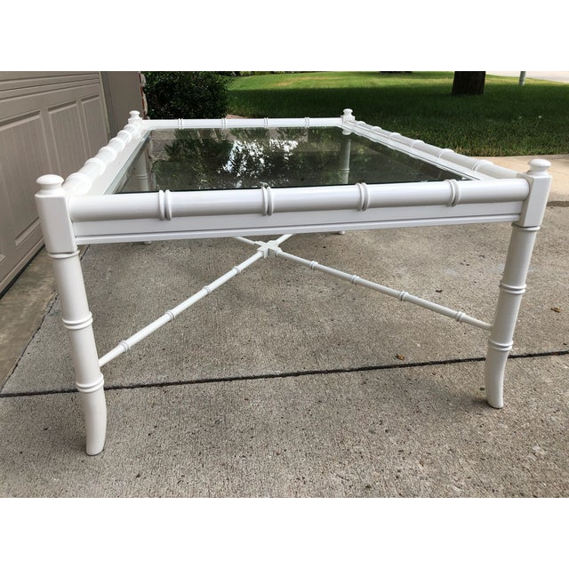 White Thomasville Lacquered Faux Bamboo Coffee Table For Sale - Image 8 of 11