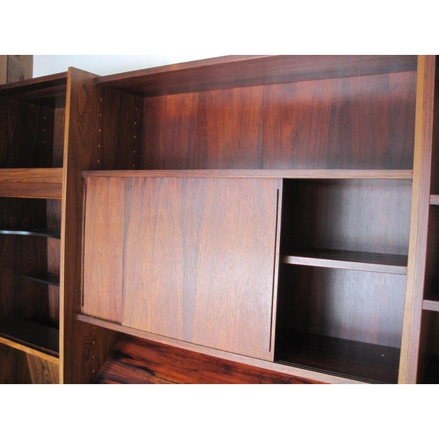 Danish Modern Rosewood Shelving Unit With Bar - Image 7 of 9
