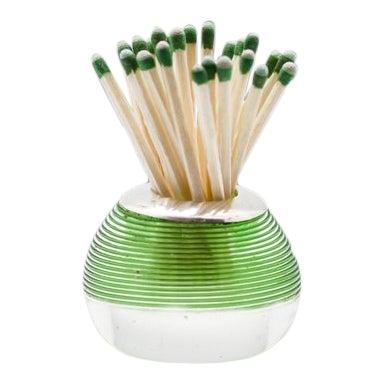 Edwardian Threaded Green Stripe Crystal Sterling Silver Match Striker For Sale