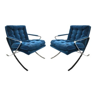 Pair of Milo Baughman Style Flat Bar Steel Chrome Lounge Chairs