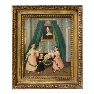 Mid 19th Century Family Oil Portrait C.1840 For Sale