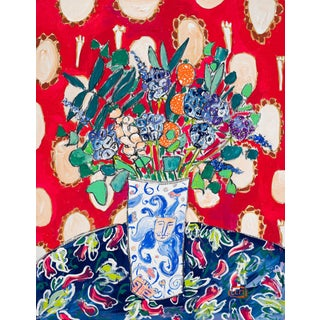 Wildflowers in a Lion Vase on Red Floral Still Life Painting After Matisse For Sale