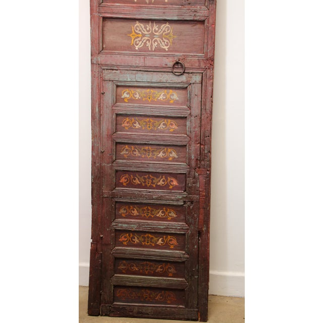 19th Century Moroccan Antique Double Door With Hand Painted Moorish Designs For Sale - Image 4 of 13