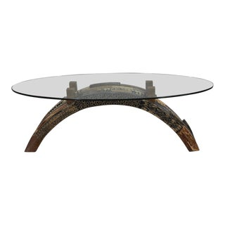 """1990s Contemporary Oval """"Postpile"""" Cocktail or Coffee Table With Exotic Inlay For Sale"""