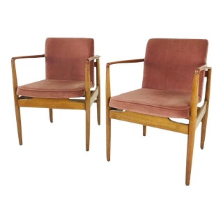 Modern Wood Armchairs with Sienna Mohair -a Pair For Sale