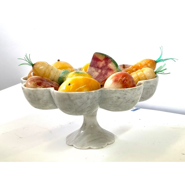 Art Deco Vintage Italian Marble Tazza Holding Fruit and Vegetables For Sale - Image 3 of 13