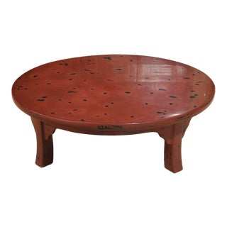 Red Lacquer Round Table For Sale