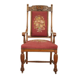 "Antique Victorian Renaissance ""Grotesque"" Carved Oak Needlepoint Armchair For Sale"