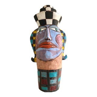 1980s Postmodern Memphis Pottery Bust For Sale