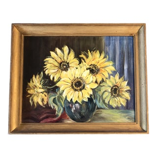 Original Vintage Modernist Still Life Sunflowers Painting For Sale