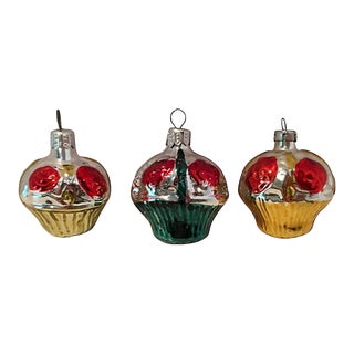 Trio of Floral Basket Ornaments For Sale