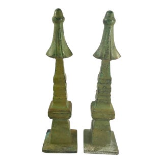 20th Century Asian Green Pagoda Obelisks - a Pair For Sale