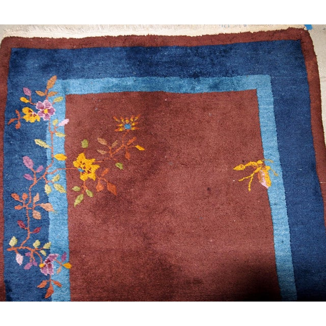 Asian 1920s Handmade Antique Art Deco Chinese Rug 3' X 4.11' For Sale - Image 3 of 13
