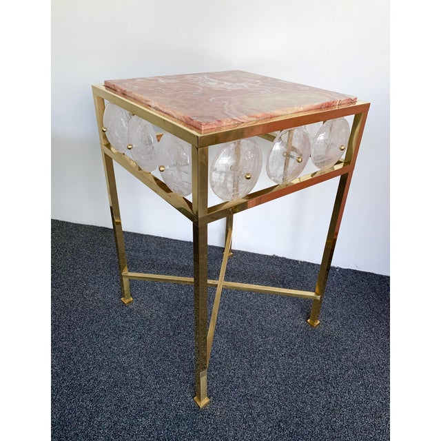 Contemporary Pair of Brass Side Table Rock Cristal Onix, Italy For Sale - Image 10 of 11