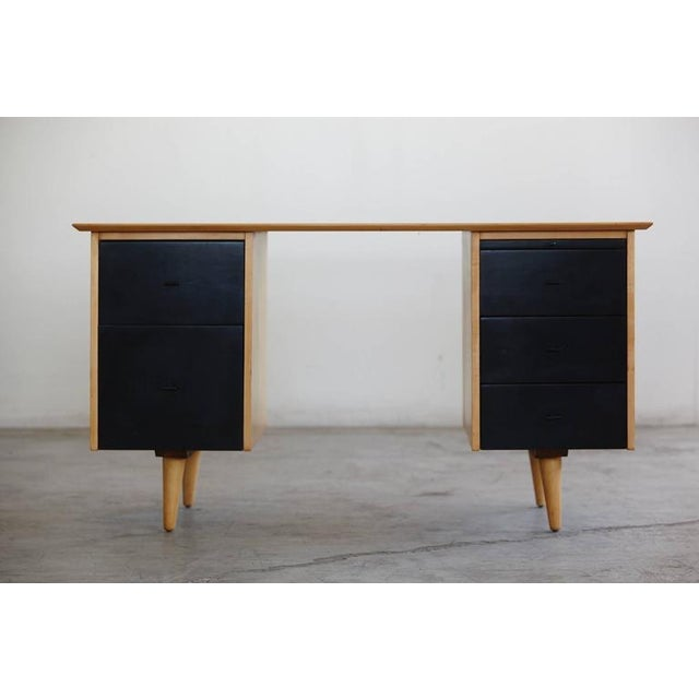 Black 1950s Mid-Century Modern 5 Drawer Double Sided Writing Desk For Sale - Image 8 of 8
