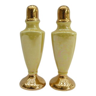 Yellow Iridescent Porcelain Salt & Pepper Shakers - a Pair For Sale