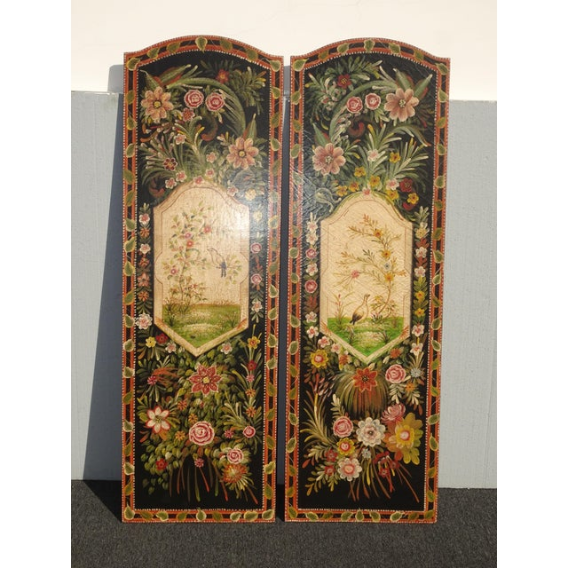 French Country Vintage French Country Maitland Smith Style Wall Panels Floral Pictures For Sale - Image 3 of 12