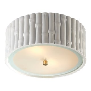 Chinoiserie White Ceramic Flush Mount Light For Sale