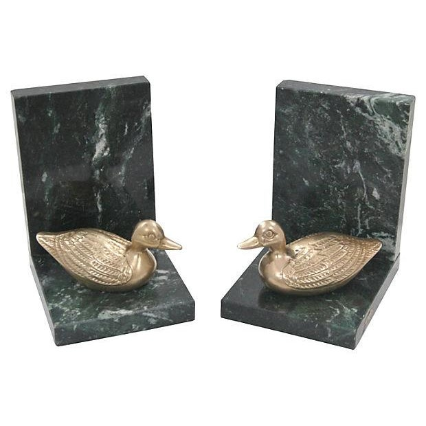 Marble & Brass Duck Bookends - A Pair - Image 2 of 6