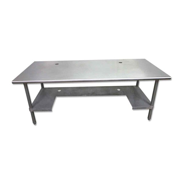 Stainless Steel Industrial Table With Shelf For Sale - Image 9 of 10