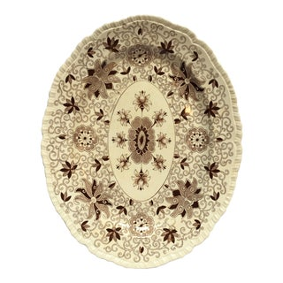 Vintage Mason's Ironstone Oval Platter in Bow Bells Brown For Sale
