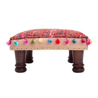 Bohemian Silk Handloom Woven Wood Footstool For Sale
