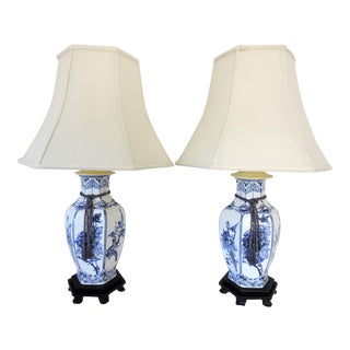 Vintage Blue & White Porcelain Chinese Table Lamps - a Pair For Sale