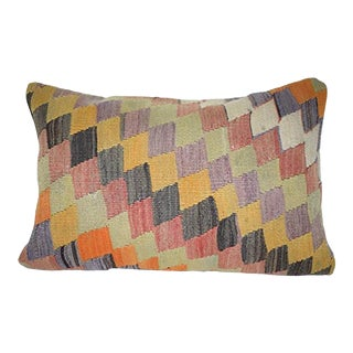 Vintage Turkish Lumbar Pillow, Farmhouse Bolster Pillow, Old Pale Kilim Rug Lumbar Throw Pillow Cover 16'' X 24'' (40 X 60 Cm) For Sale