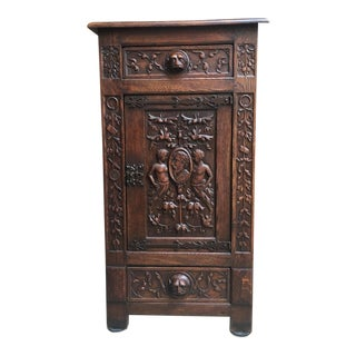 Tall Antique Spanish Carved Oak Renaissance Cupboard For Sale