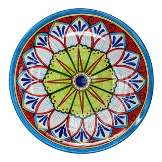 Tuscan Italian Red, Blue, and Green Hand Painted Oversize Serving or Decorative Bowl For Sale
