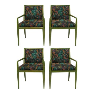 Four T.H. Robsjohn-Gibbings Moss Green Walnut Arm Chairs For Sale