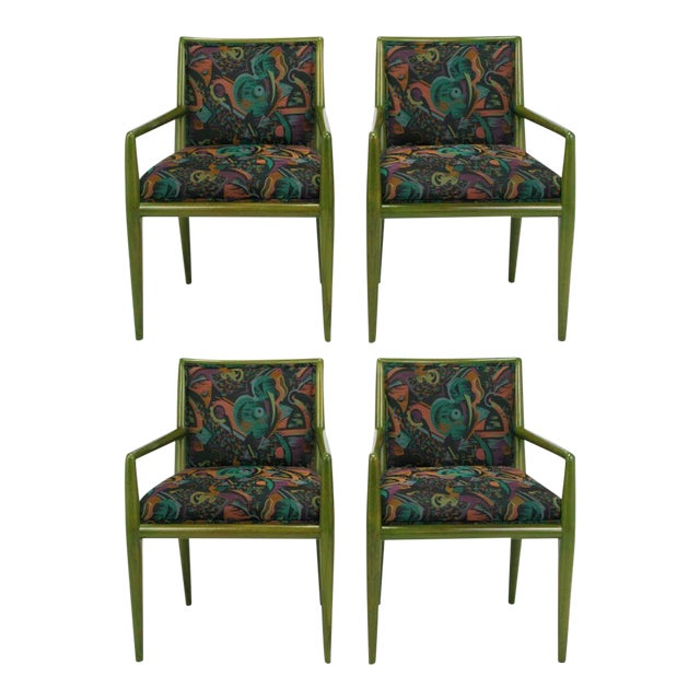 Four T.H. Robsjohn-Gibbings Moss Green Walnut Arm Chairs For Sale