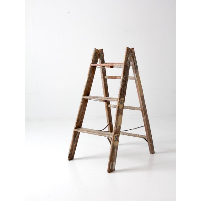 Vintage Wooden Folding Ladder For Sale - Image 11 of 11