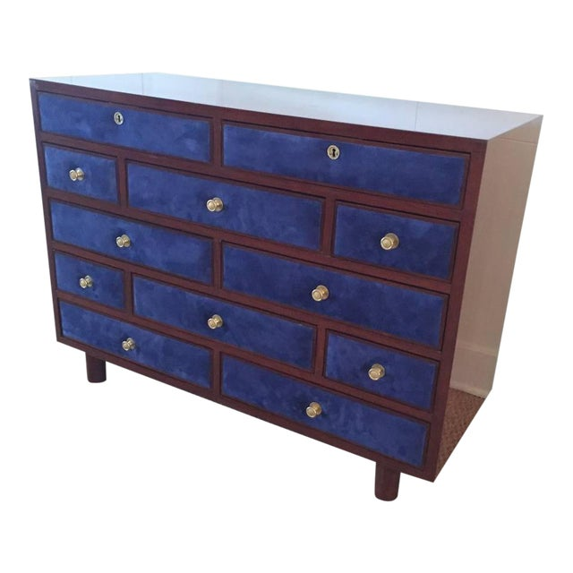 Maison Jansen Chest of Drawers with Blue Suede and Gold-Plated Pulls For Sale
