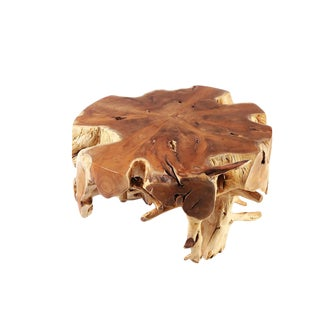 Organic Modern Small Round Teak Root Coffee Table 1 For Sale