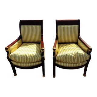 1930s Italian Neoclassic Walnut and Parcel-Gilt Armchairs - a Pair For Sale