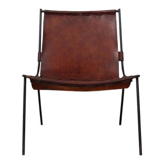 1950s Gordon Keeler Leather and Iron Sling Chair For Sale