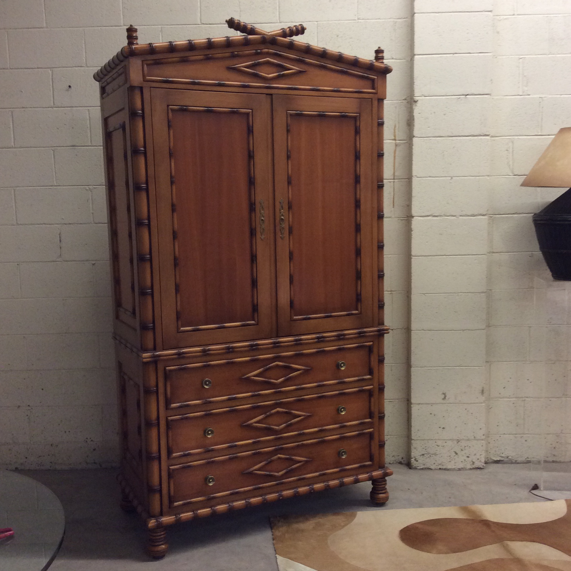 Faux Bamboo Armoire Entertainment Cabinet   Image 10 Of 11