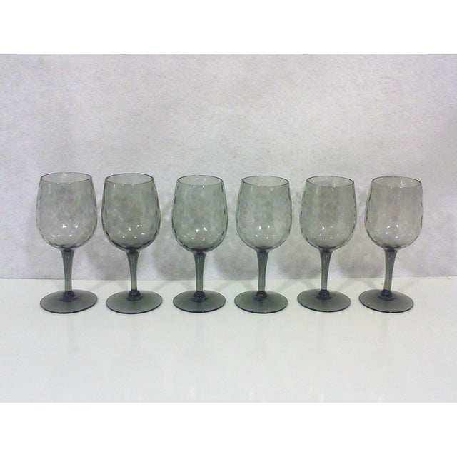 Italian Empoli Italian Smoked Glass Cordial Stemware - Set of 6 For Sale - Image 3 of 5