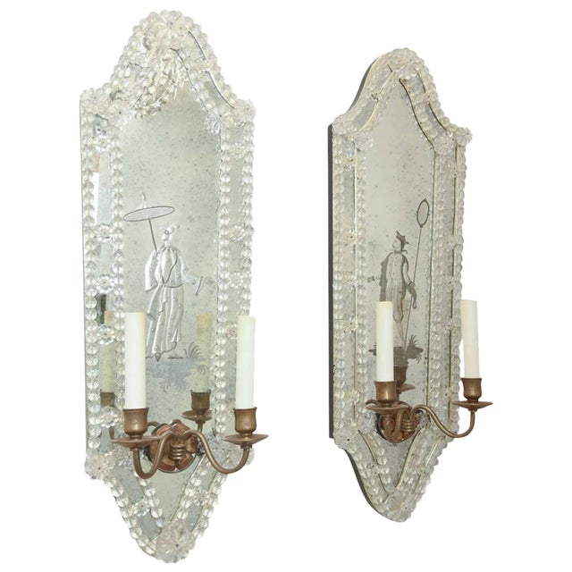 Opposing Pair of Etched Venetian Mirrored Sconces. Circa 1940s. For Sale