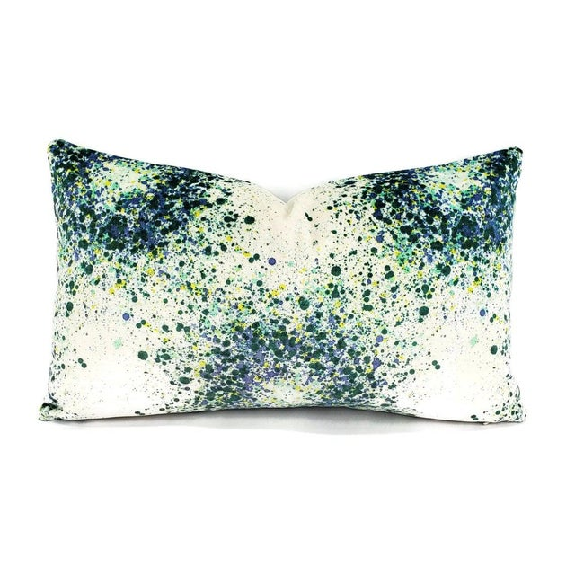 """2020s Highland Court Bellatrix in Aegean Lumbar Pillow Cover - 12"""" X 20"""" Green, Blue, Yellow and White Splatter Print Velvet Cushion Case For Sale - Image 5 of 5"""