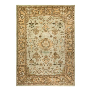 """Eclectic, One-Of-A-Kind Hand-Knotted Area Rug - Beige, 10' 0"""" X 13' 8"""" For Sale"""