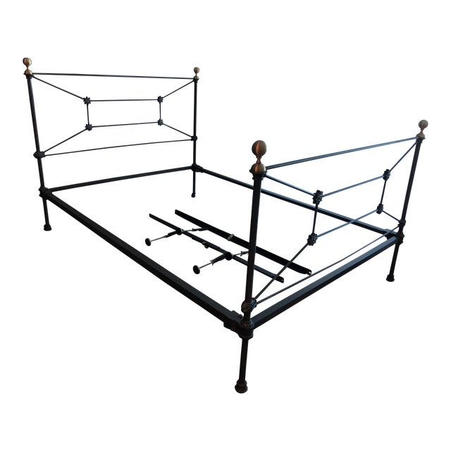 Antique Regency Style Wrought Iron Double Size Bed For Sale